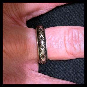 Pandora Black and Grey Floral Ring